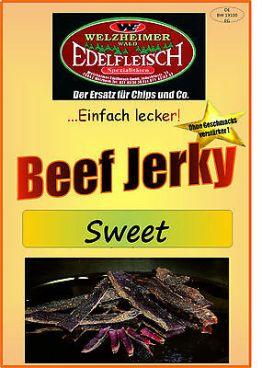 100 Gramm Biltong Beef Jerky Trockenfleisch Sweet Probierpackung am Stück/Stix