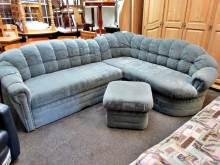 Ecksofa Couch mit Schlaffunktion und Bettkasten blau