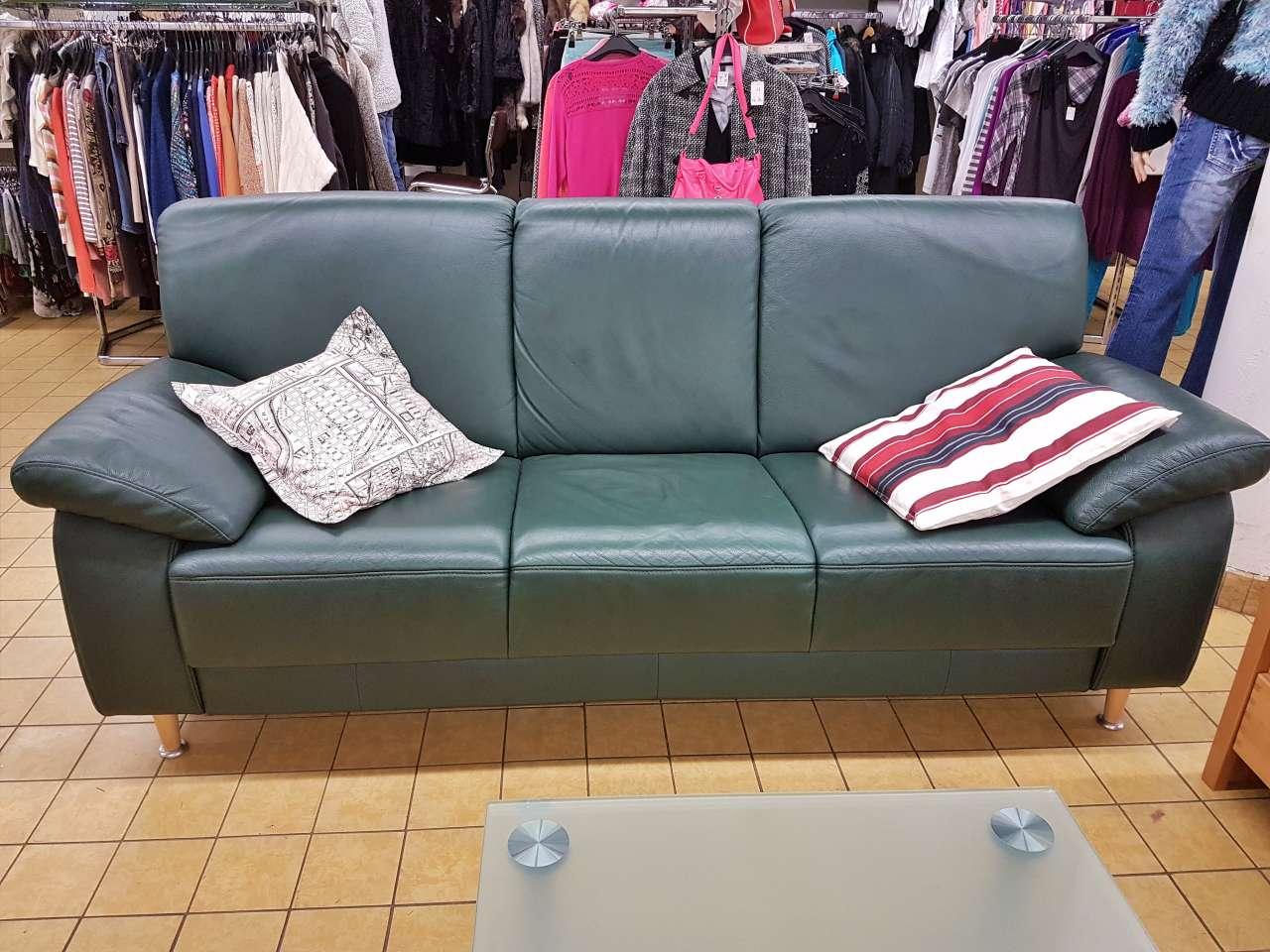 Sofa Couch 3er Himolla Leder grün