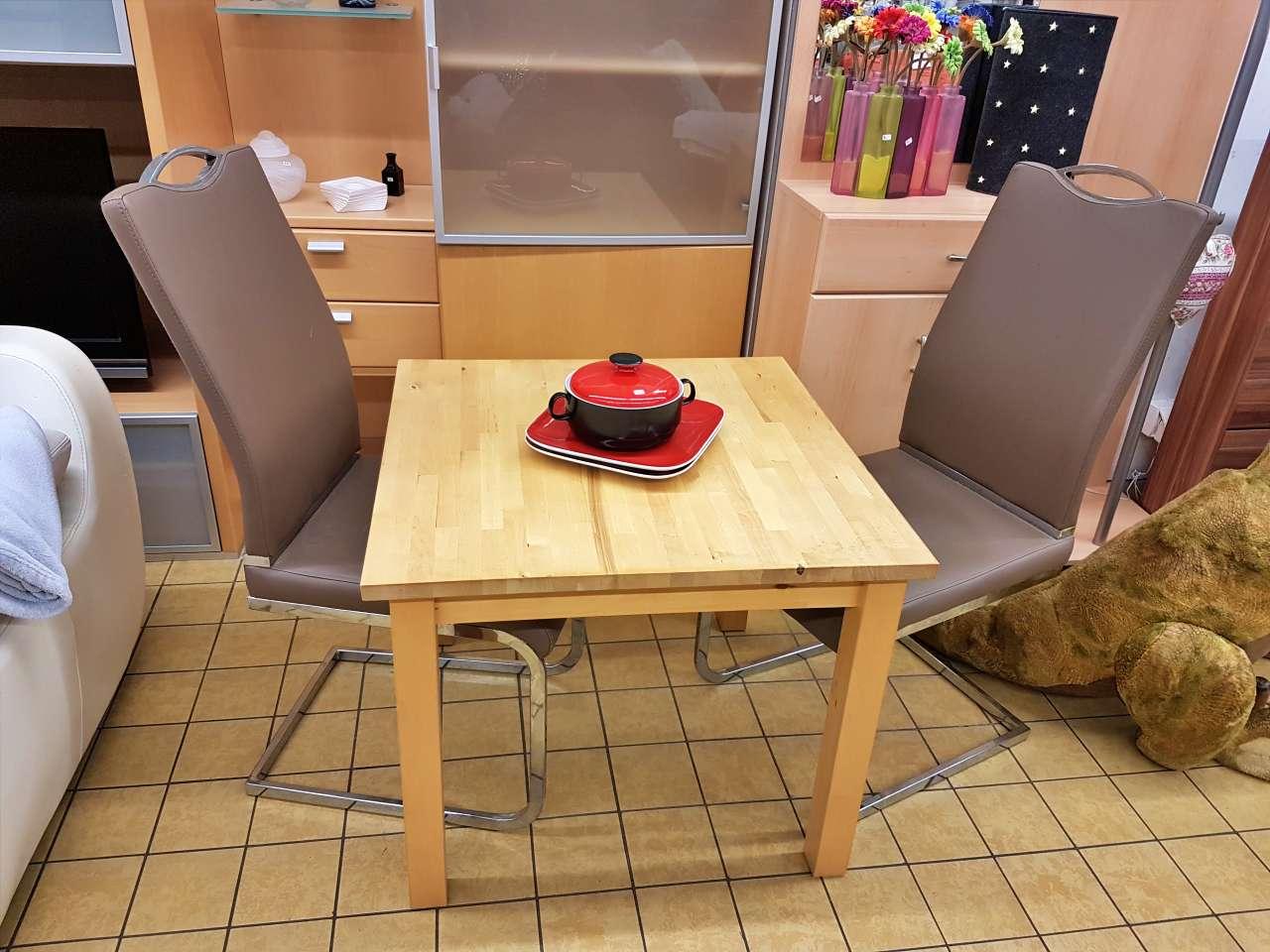Tisch Holz Natur Stühle Hochlehner braun