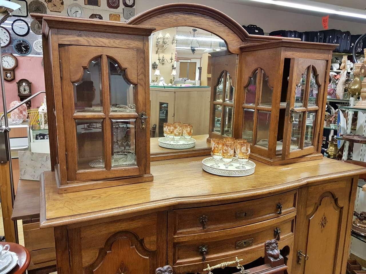 Antike Möbel Buffetschrank Vitrinenschrank Eiche