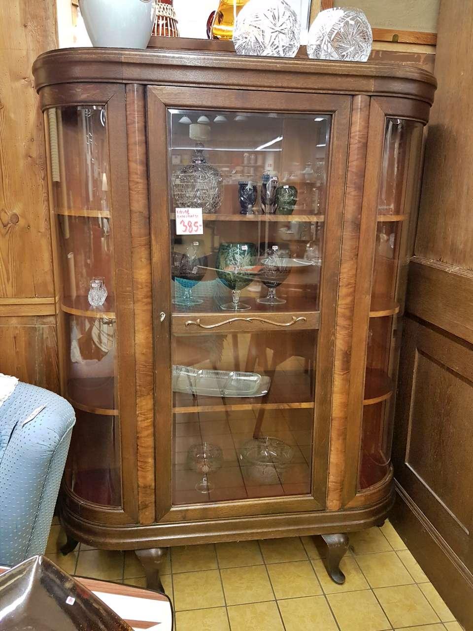 Antike Möbel Rundvitrine Vitrinenschrank Nussbaum