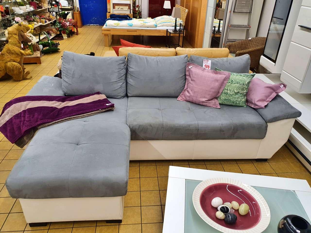 Couch Sofa L-Form modern grau weiss