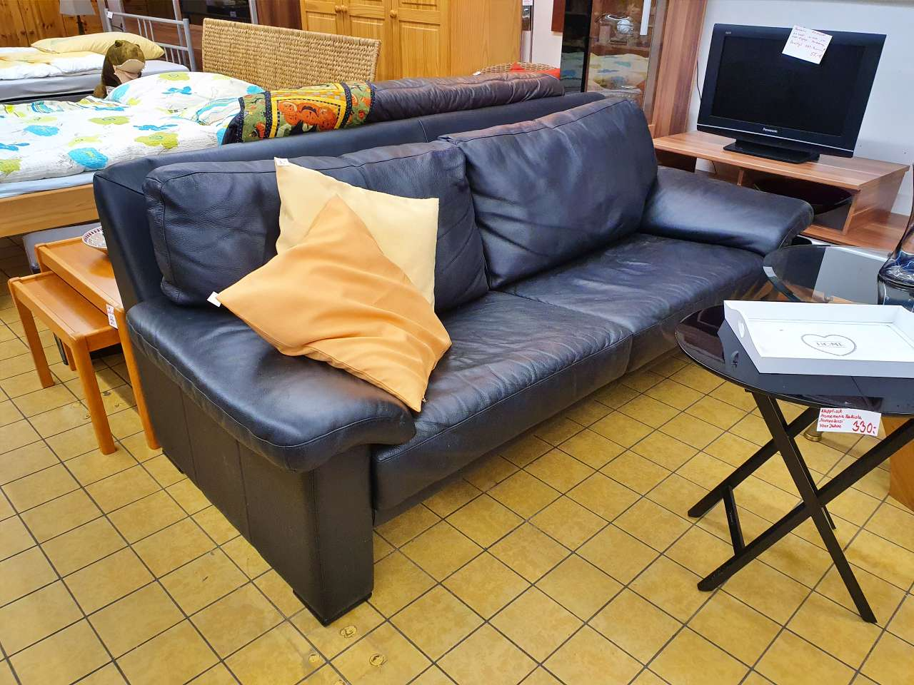 Couch Sofa 2er (3er) Leder schwarz