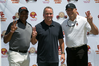 TFAC 50th Golf Classic - USC A.D. Lynn Swan, Ethan Wayne, USC Coach Clay Helton