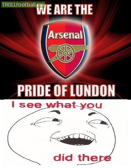 arsenal fc pride of lundon troll