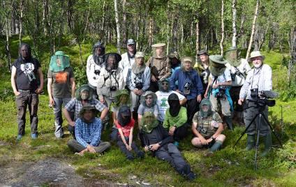 Myggnätförsedda deltagare vid Nikkaloukta.