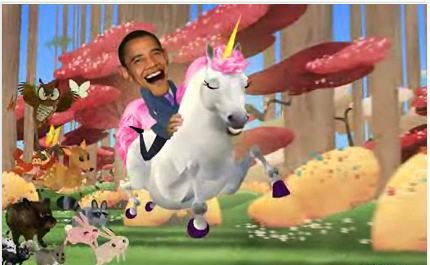 Obama Riding Unicorn