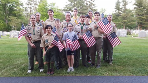 Troop 59 at St. Vincent de Paul Cemetery, May 17, 2017