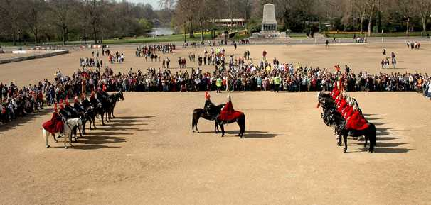 The changing of the Queen's Life Guard on Horse Guards Parade