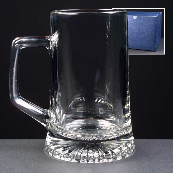 Engraved Stern Glass Tankards In Blue Cardboard Gift Box. Price Includes Engraving.