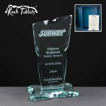 Sliced Flare Rock Tablet Glass Awards Supplied In A Branded Box. Price Includes Engraving.