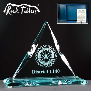 Triangle Rock Tablet Glass Awards Supplied In A Branded Box. Price Includes Engraving.