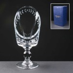 Balmoral Glass Sliced Chalice With Laurel Cut Supplied In A Blue Cardboard Gift Box. Price Includes Engraving.