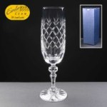 Earle Crystal Champagne Flute With Panel For Engraving In Blue Cardboard Box