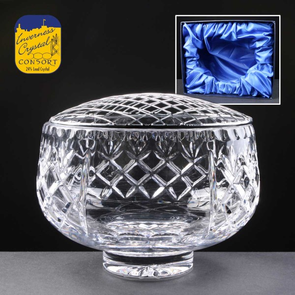 Earle Crystal Engraved Crystal Rose Bowls With Panel For Engraving Supplied In A Satin Lined Presentation Box. Price Includes Engraving.