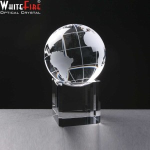 Whitefire Crystal Globe Awards Mounted On Base. Supplied In A Velvet Lined Presentation Case. Price Includes Engraving