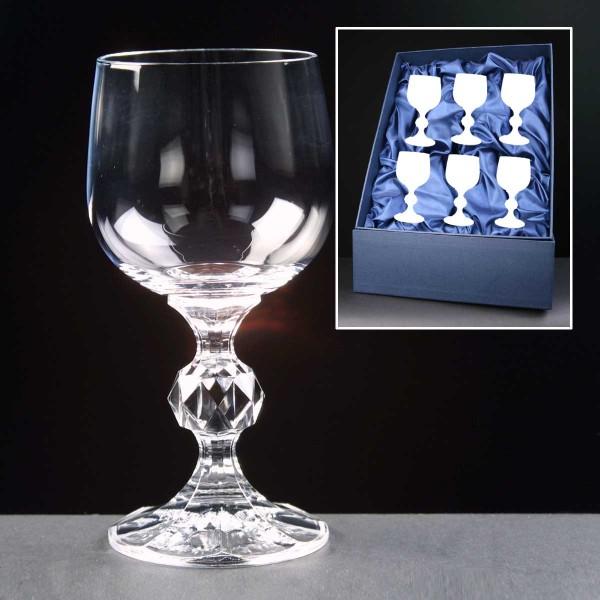 6x Claudia Engraved Wine Glasses In Presentation Box