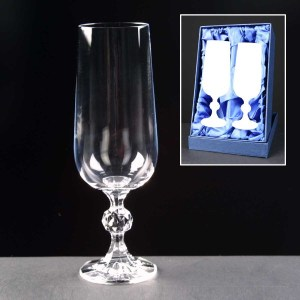 2x Claudia Engraved Champagne Glasses In Presentation Box