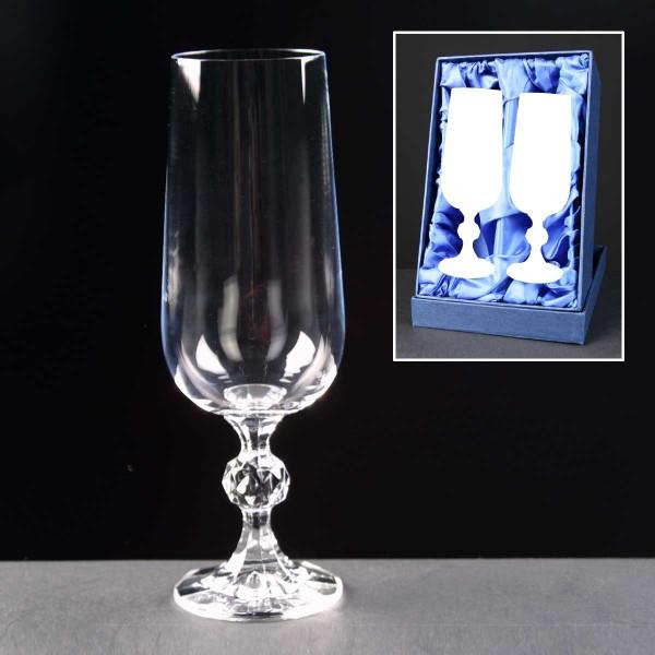 2x Claudia Engraved Champagne Glasses In Presentation Box