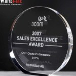 Whitefire Wedge Circle Crystal  Awards Supplied In Velvet Lined Presentation Case. Price Includes Engraving