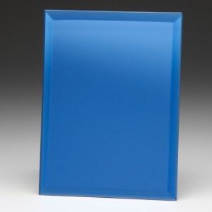 Rectangle Shaped Mirrored Blue Glass Awards Supplied In White Cardboard Box