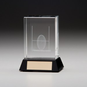 Glass Rugby Trophies With 3D Laser Engraved Rugby Scene