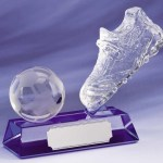Boot and Ball Glass Football Trophies