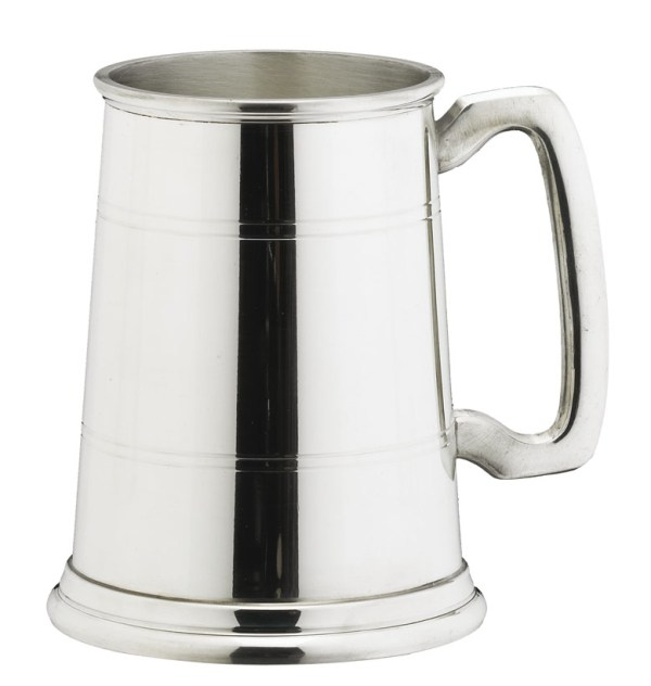 2 Lined English Pewter Tankards