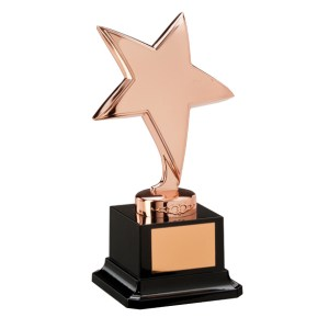 Bronze Coloured Metal Star Trophies On Black Plastic Base