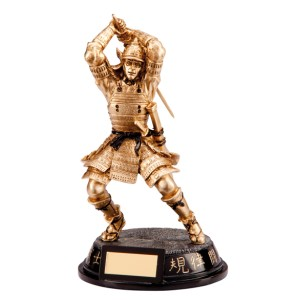 Resin Samauri Warrior Martial Arts Trophies In Antique Gold Coloured Finish