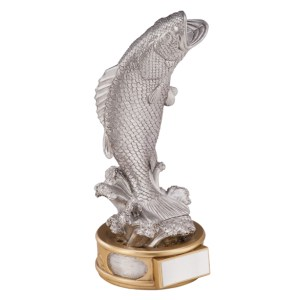 Resin Fishing Trophies In Antique Silver Coloured Finish