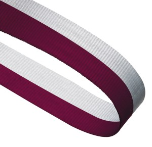 Maroon / White Woven Medal Ribbons With Clip