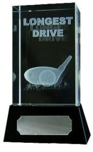 Longest Drive Golf Trophies With 3D Golf Club On Black Marble Base.