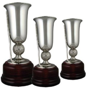 Nickel Plated Golf Cups On Round Solid Wooden Base