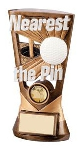 Nearest the Pin Resin Golf Trophies In Antique Gold Coloured Finish