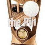 Nearest the Pin Resin Golf Trophies In Antique Gold Coloured Finish 1