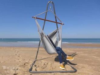 chaise hamac avec support soledad 3 gris