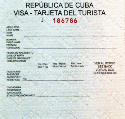 Cuban Tourist Card Green online purchase by WWW.TROPICALCUBANHOLIDAY.COM