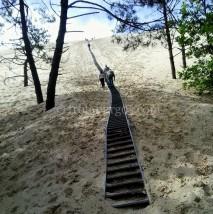 Escaleras desde el camping a la Duna