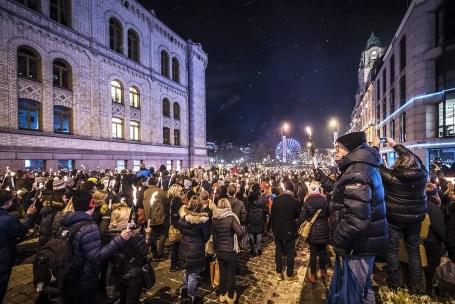 Nobelprijs parade met fakkels Oslo