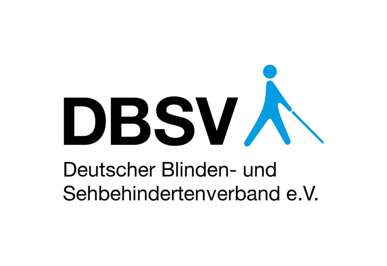 """DBSV in schwarzen Buchstaben, daneben in blau eine Person mit Stock. Darunter in schwarz """"Deutsches Blinden- und Sehbehindertenverband e.V."""""""