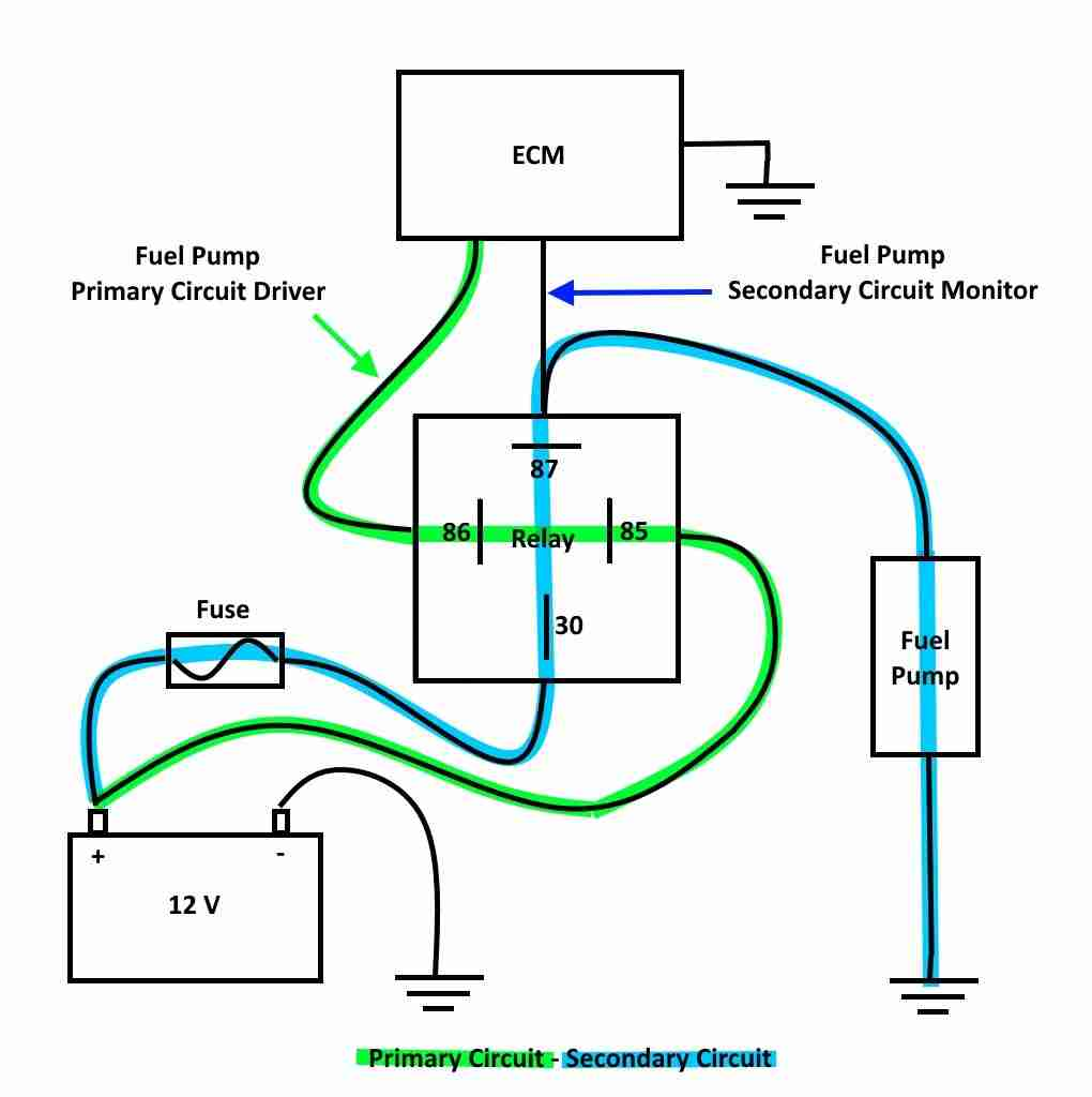 hight resolution of a general fuel pump relay and monitor circuit