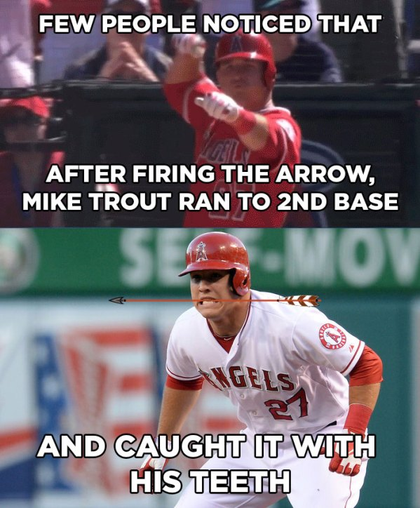 Mike Trout firing an imaginary arrow and catching it in his teeth