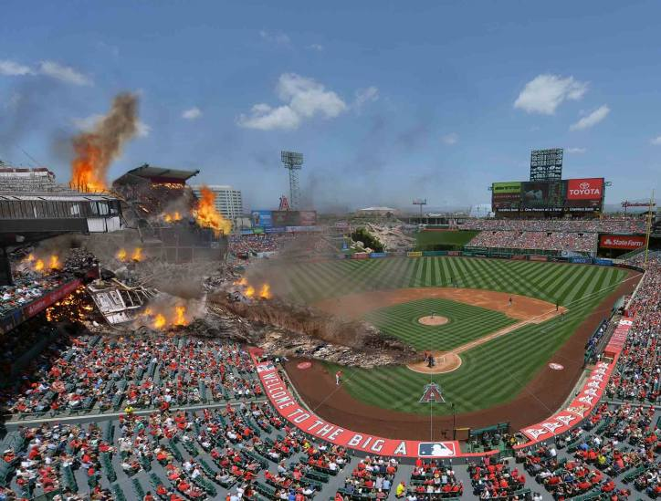 Onion image of the effects of a mike trout foul ball