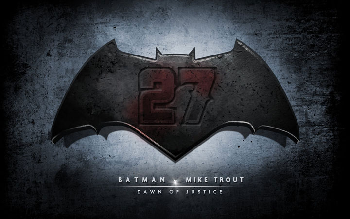 batman and Mike Trout logo combination