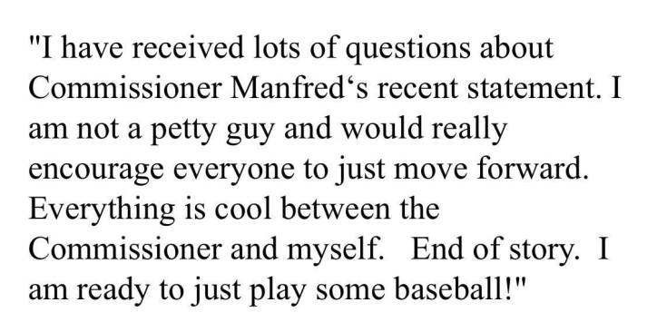 Mike Trout's resonse to Rob Manfred