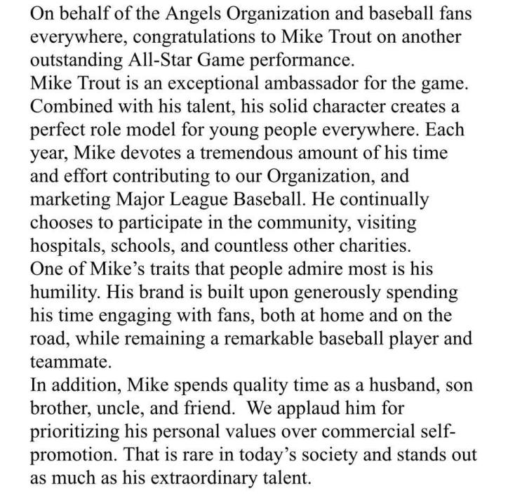 Angels statement on Mike Trout's lack of self-promotion