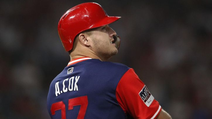 Mike Trout wears a jersey in honor of his late brother in law Aaron Cox