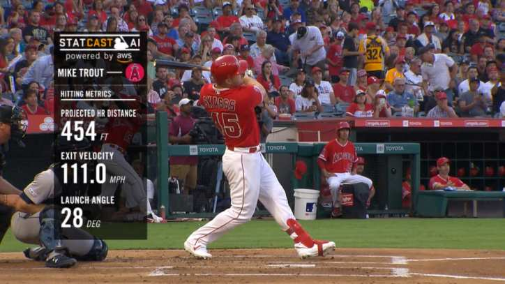 Mike Trout's 454 foot home run in honor of Tyler Skaggs